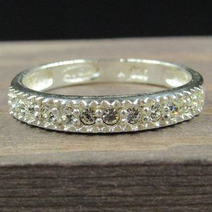 Size 7 Sterling Silver Avon Clear Crystal Band